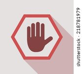 no entry hand sign on white... | Shutterstock .eps vector #218781979