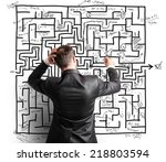difficult resolution of a maze... | Shutterstock . vector #218803594