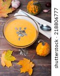 delicious autumn pumpkin soup... | Shutterstock . vector #218806777