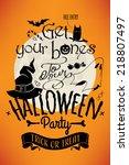 vector halloween party poster... | Shutterstock .eps vector #218807497