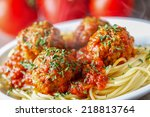 spaghetti and meatballs | Shutterstock . vector #218813764