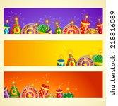vector diwali banner with... | Shutterstock .eps vector #218816089