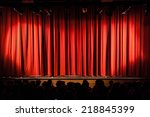 a closed red stage curtain in a ... | Shutterstock . vector #218845399