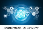 hexagons with icons and glow... | Shutterstock . vector #218849899