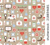 seamless pattern of medical and ... | Shutterstock .eps vector #218854681