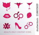 sexy icons set for adult only... | Shutterstock .eps vector #218855839