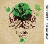 sketch watercolor ecology... | Shutterstock .eps vector #218864287