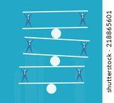business man balance beam  | Shutterstock .eps vector #218865601