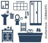 various bathroom elements... | Shutterstock .eps vector #218866591