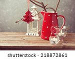 vintage style christmas table... | Shutterstock . vector #218872861