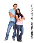 young couple smiling at the... | Shutterstock . vector #218879674