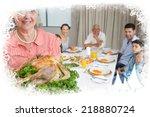 grandmother holding chicken... | Shutterstock . vector #218880724