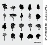 set of tree silhouettes. vector ... | Shutterstock .eps vector #218886967