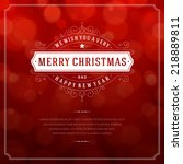 christmas retro typographic and ... | Shutterstock .eps vector #218889811
