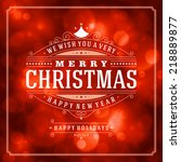 christmas retro typography and... | Shutterstock .eps vector #218889877
