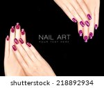 colorful nail art. trendy... | Shutterstock . vector #218892934