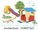 playground. seesaw  slider and... | Shutterstock .eps vector #218897167