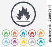 fire flame sign icon. heat... | Shutterstock . vector #218897644