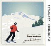Mountain Skiing. Skier Slides...
