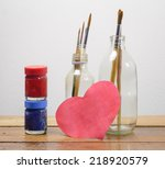 old brush paints and color... | Shutterstock . vector #218920579