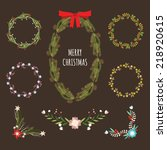christmas hand drawn floral... | Shutterstock .eps vector #218920615