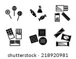 set of back and white sweets...   Shutterstock .eps vector #218920981