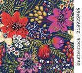 vector floral seamless pattern... | Shutterstock .eps vector #218923489