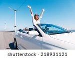 couple in cabriolet. happy... | Shutterstock . vector #218931121