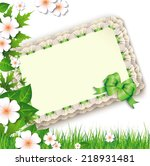 postcard with fresh flowers and ... | Shutterstock .eps vector #218931481