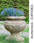 Old Stone Vase With Blue...
