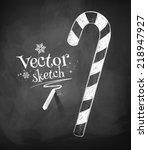 chalkboard drawing of christmas ...   Shutterstock .eps vector #218947927