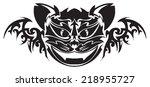 tattoo design of cat face ... | Shutterstock .eps vector #218955727