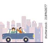 illustration of family going on ... | Shutterstock .eps vector #218963077