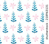 floral watercolor seamless... | Shutterstock .eps vector #218963131