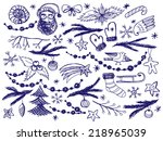 set of hand drawn christmas... | Shutterstock .eps vector #218965039