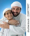 arabic father and son enjoying... | Shutterstock . vector #218977897