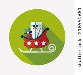 christmas sleigh gift flat icon ... | Shutterstock .eps vector #218995681