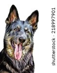 drawing of the dog german... | Shutterstock . vector #218997901
