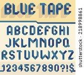 alphabet set folded of blue tape   Shutterstock .eps vector #218998861