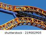 a roller coaster tracks closeup ...   Shutterstock . vector #219002905