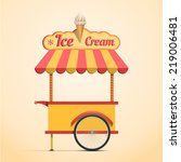 retro vector ice cream cart on... | Shutterstock .eps vector #219006481