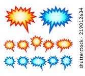 set of red and blue starburst...   Shutterstock .eps vector #219012634