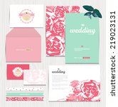 set of floral vintage wedding... | Shutterstock .eps vector #219023131