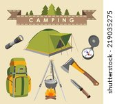 set of camping equipment and... | Shutterstock .eps vector #219035275