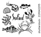 sea food set | Shutterstock .eps vector #219042295