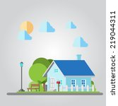 flat design countryside house... | Shutterstock .eps vector #219044311