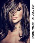 closeup portrait of attractive... | Shutterstock . vector #219052159