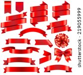 red ribbons big set with... | Shutterstock .eps vector #219055999
