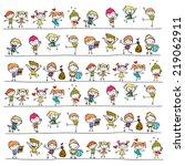 hand drawing cartoon happy kids   Shutterstock .eps vector #219062911