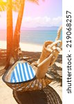 romantic cozy hammock | Shutterstock . vector #219068257